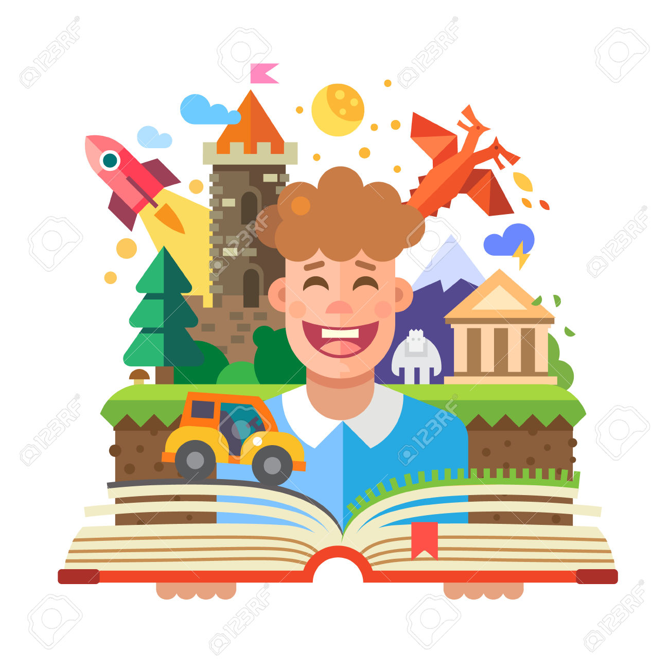 Open Book Imagination Clipart Free.