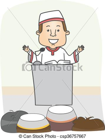 Clip Art Vector of Man Islam Preach.
