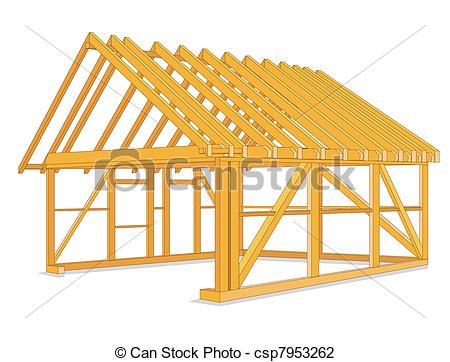 Vector Illustration of timber houses construction.