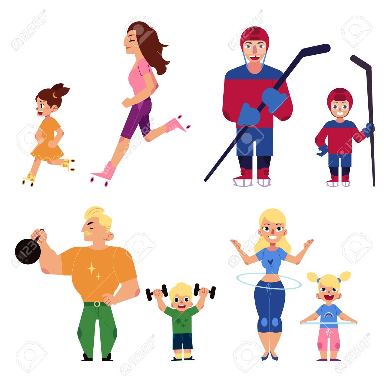 Sport family set with parents and children engaged in same sports...