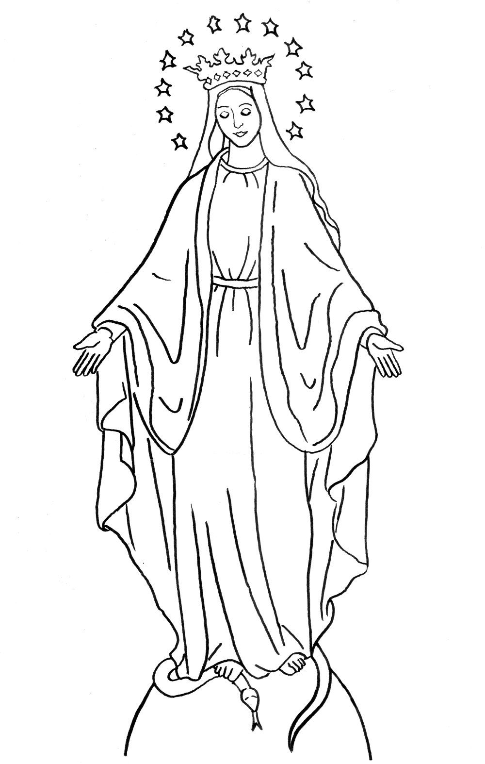 Coloring Page Immaculate Conception for Solemnity of the Immaculate.