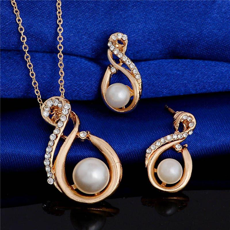 High Quality Fancy Womens Jewelry Sets Necklace Earrings Gold.