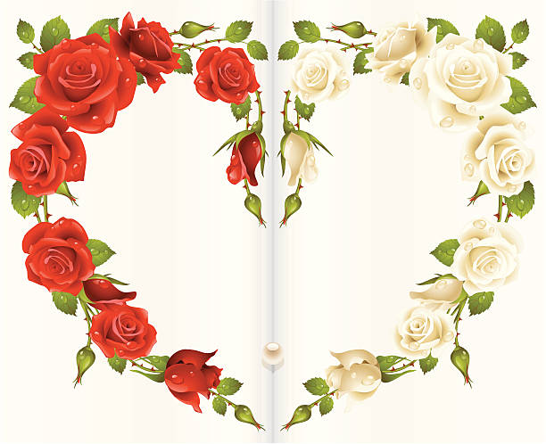 Silhouette Of A White Artificial Roses Clip Art, Vector Images.