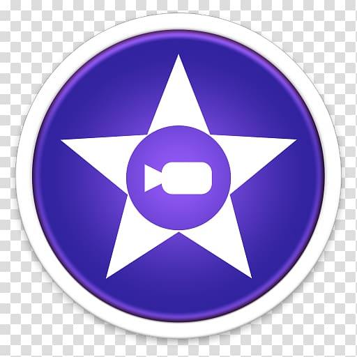 Imovie icon, purple symbol violet circle, iMovie transparent.