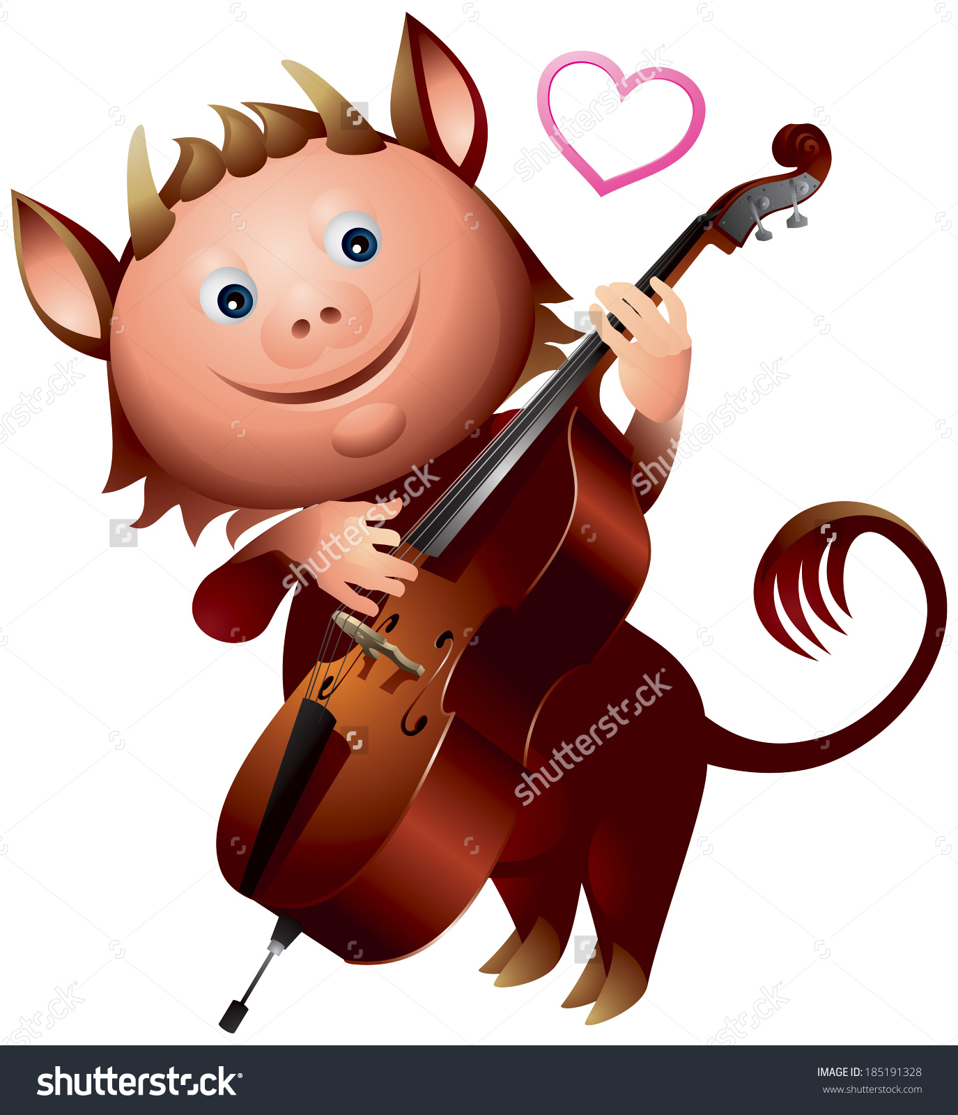 Imp Double Bass Love Heart Song Stock Vector 185191328.