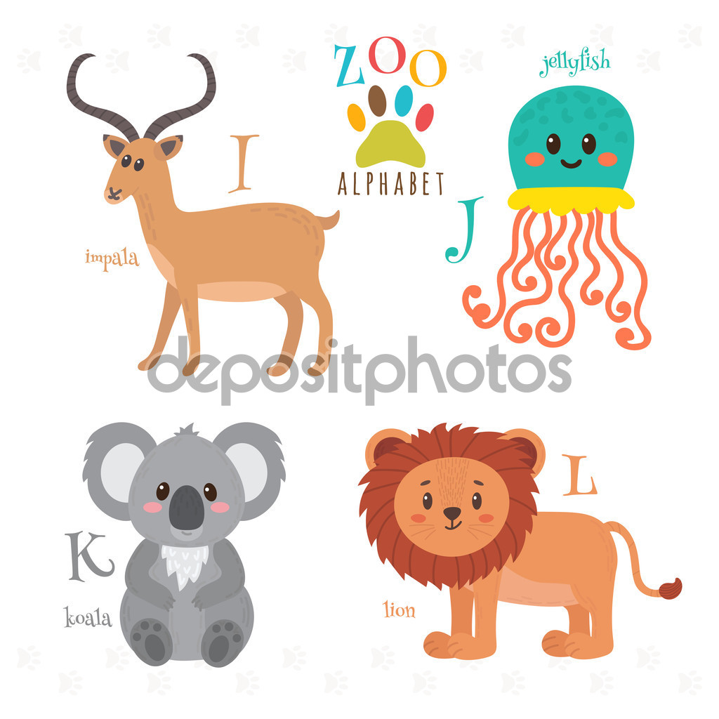 Zoo alphabet with funny cartoon animals. I, j, k, l letters. Imp.