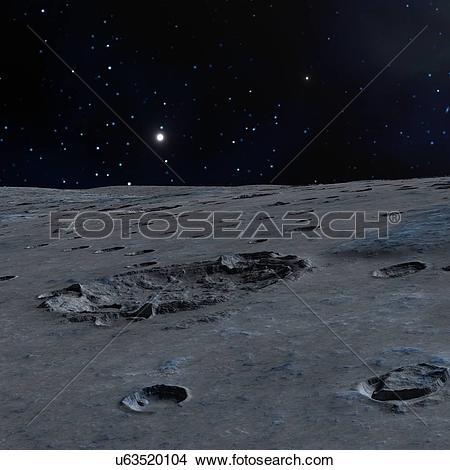 Drawings of Impact crater on alien moon, artwork u63520104.