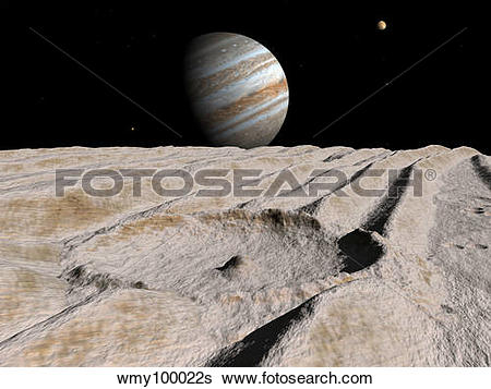 Stock Illustration of Artist's concept of an impact crater on.