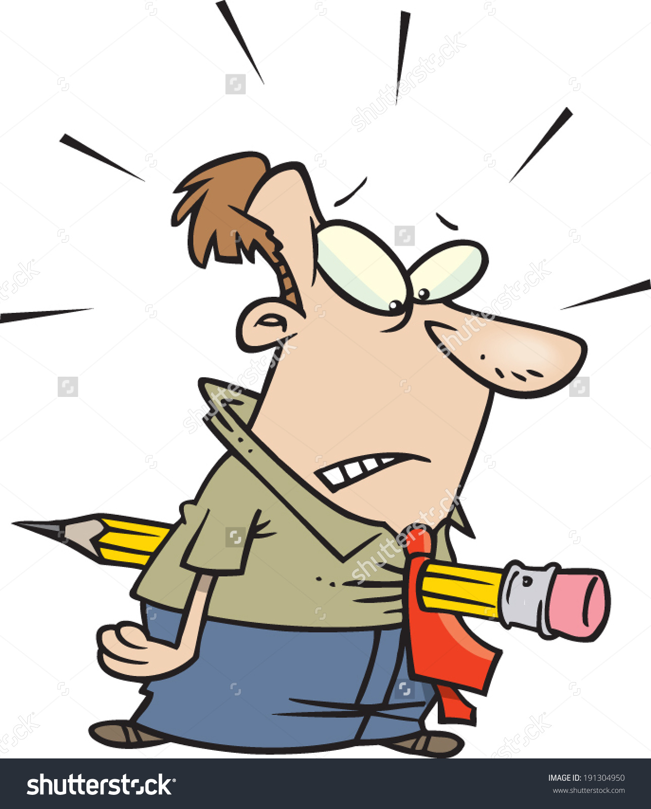 Cartoon Man Impaled By Pencil Stock Vector 191304950.