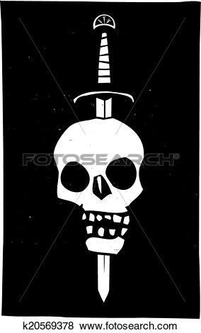 Clip Art of Skull Impaled on a Sword Dark k20569378.