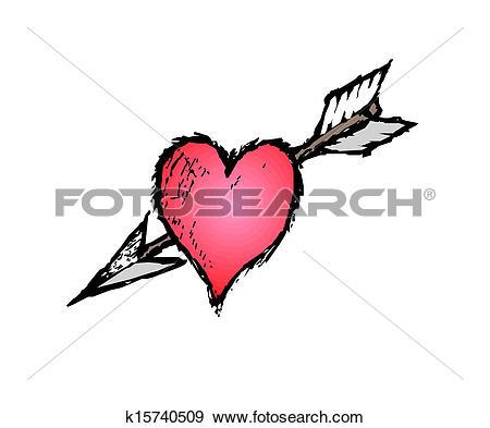 Clip Art of Heart impaled by arrow k15740509.