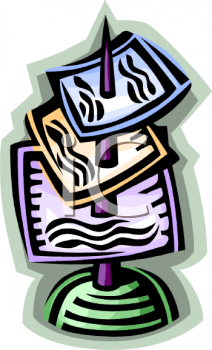 Royalty Free Clipart Image: Paper Impaled on a Spindle.