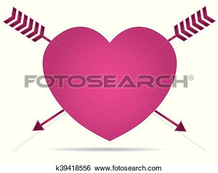 Clip Art of Heart impaled by arrow k39418556.