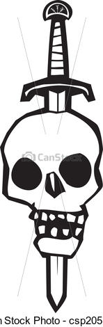 Vector Clipart of Skull Impaled on a Sword.