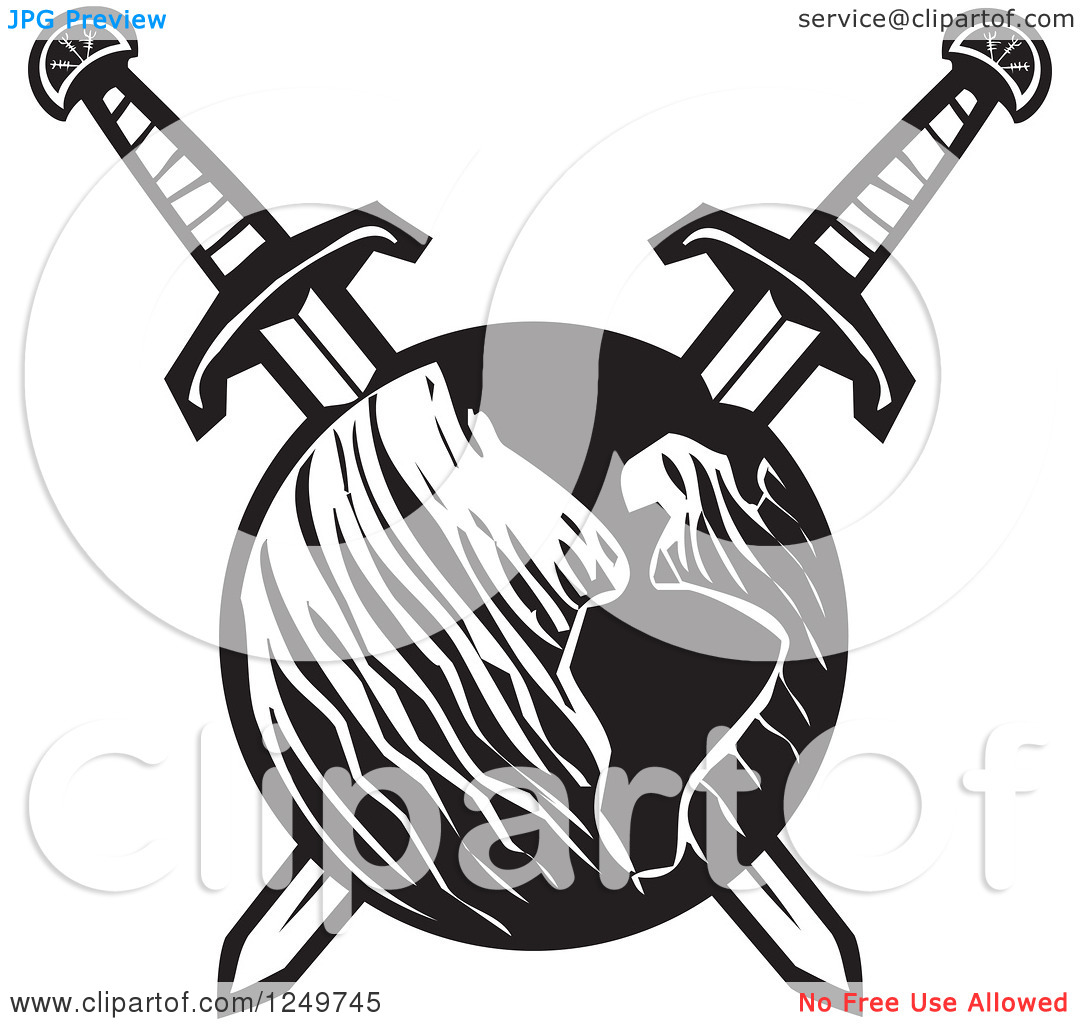 Clipart of a Black and White Woodcut Earth Impaled with Crossed.