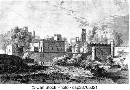 Clip Art of The Imperial Palace in Gondar, vintage engraving.