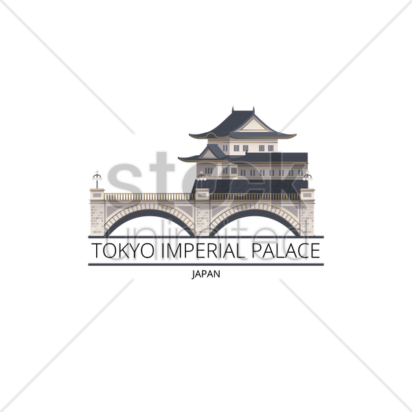 Tokyo imperial palace Vector Image.