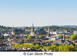 Stock Image of Imperial City of Aachen at summer.