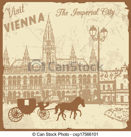 Vector Clipart of Visit Vienna the Imperial City poster.