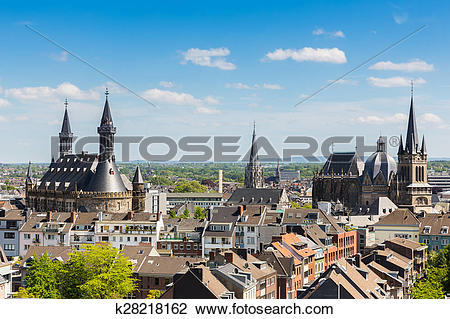 Stock Photo of Imperial City of Aachen at summer k28218162.