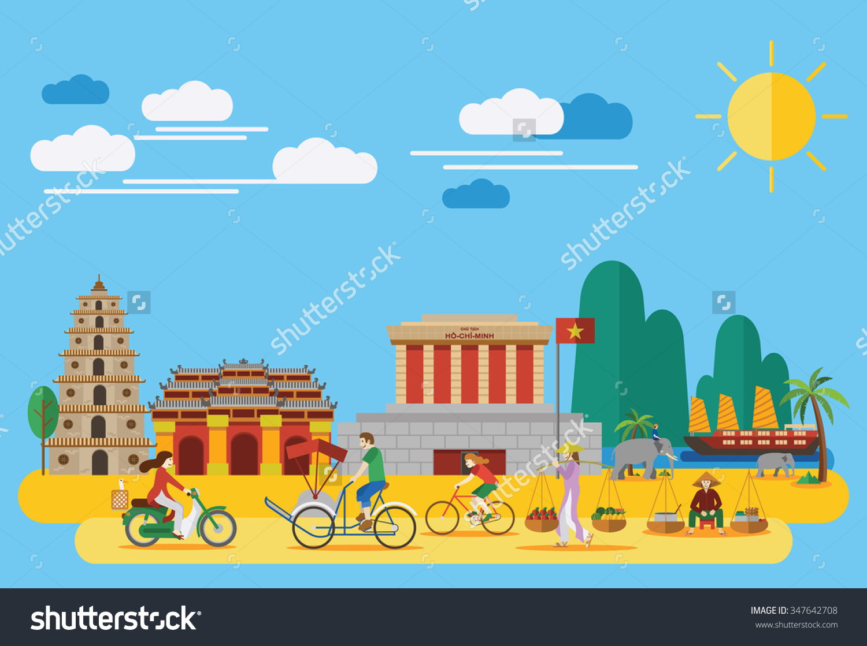 Flat Designvietnamese Landmarks Such Ho Chi Stock Vector 347642708.