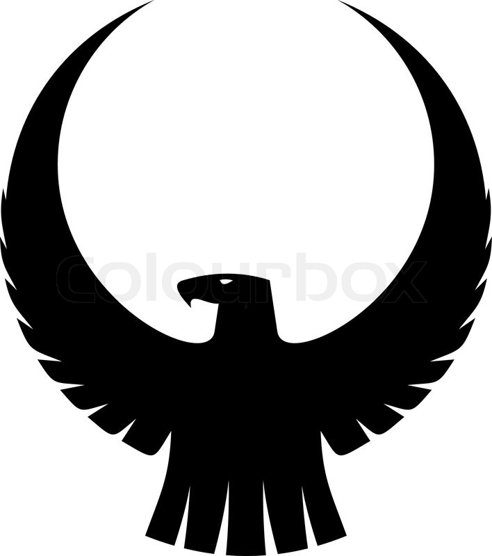 Black silhouette of an imperial eagle with long trailing wing.