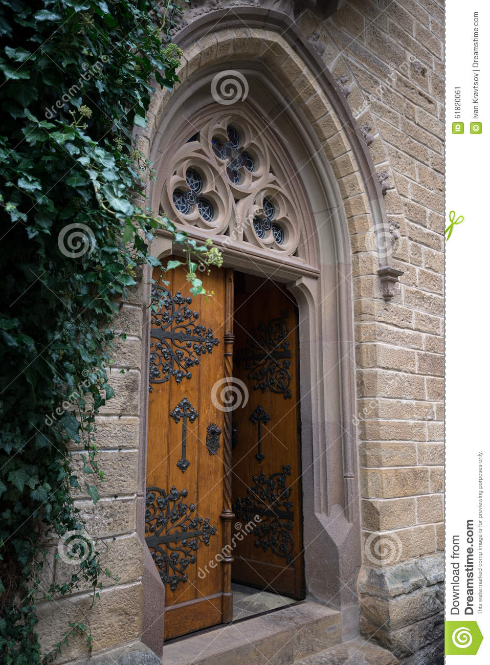 The Doors To Hohenzollern Castle Church, Germany Stock Photo.