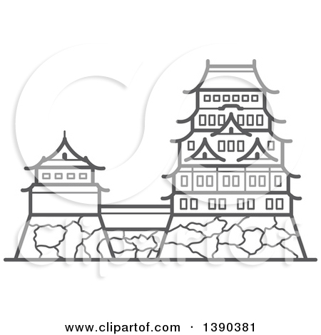 Clipart of a Sketched Gray Imperial Palace.