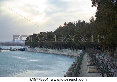Stock Photography of Frozen Kunming Lake During Winter Outside The.