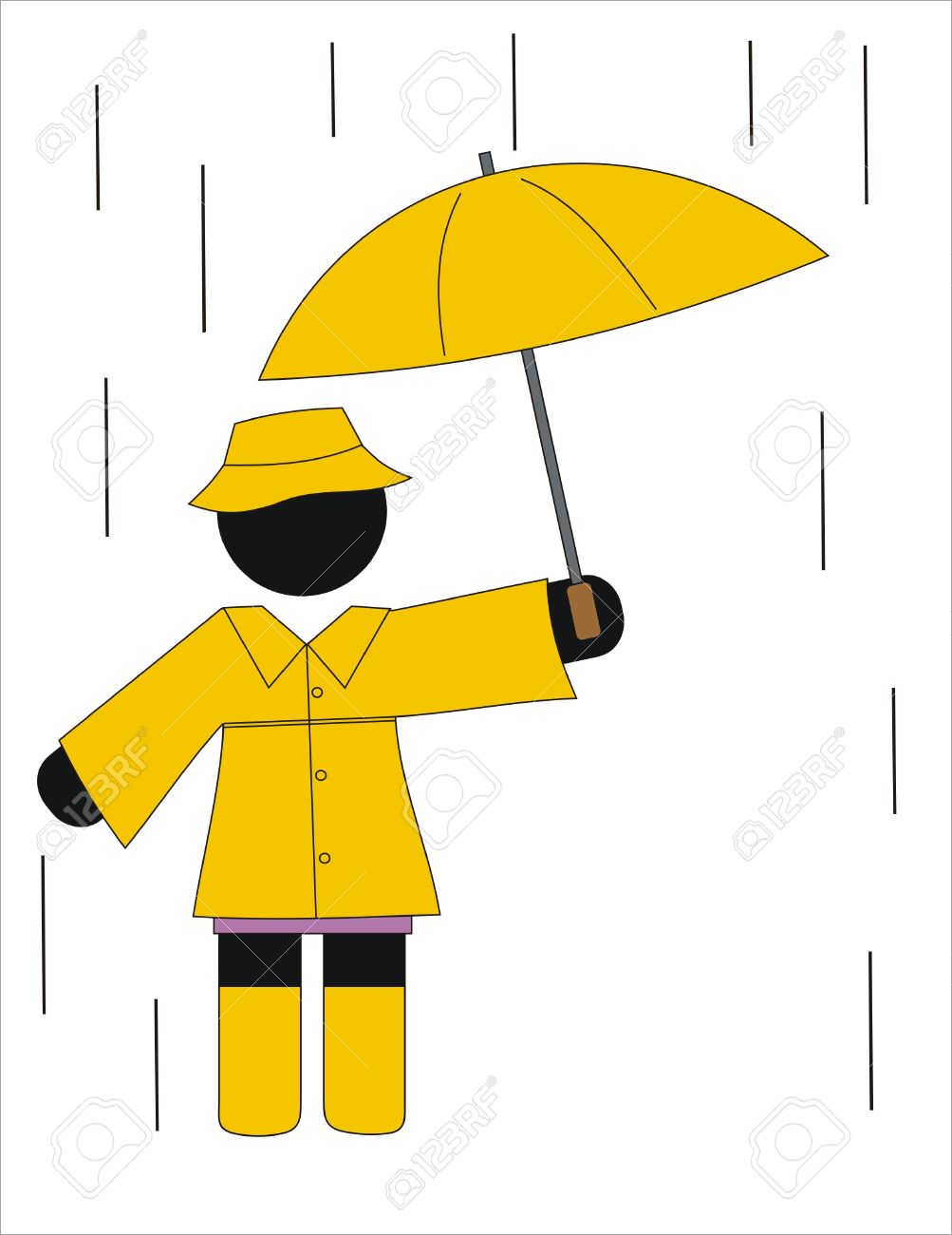 Woman With Raincoat And Umbrella In The Rain Royalty Free Cliparts.