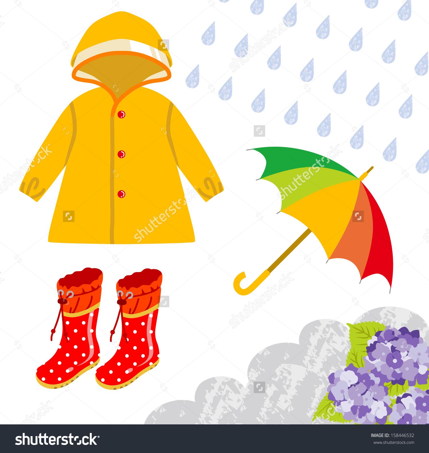 Rain coat kids clipart.