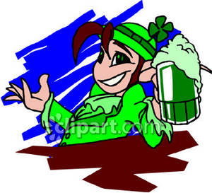 Leprechaun Holding a Green Beer.