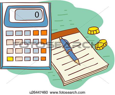 Clipart of calculator, notebook, office machine, office supplies.