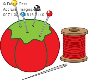 Royalty Free Clipart Illustration of Sewing Implements.
