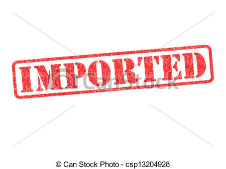 Clip Art of IMPORTED Rubber Stamp over a white background.