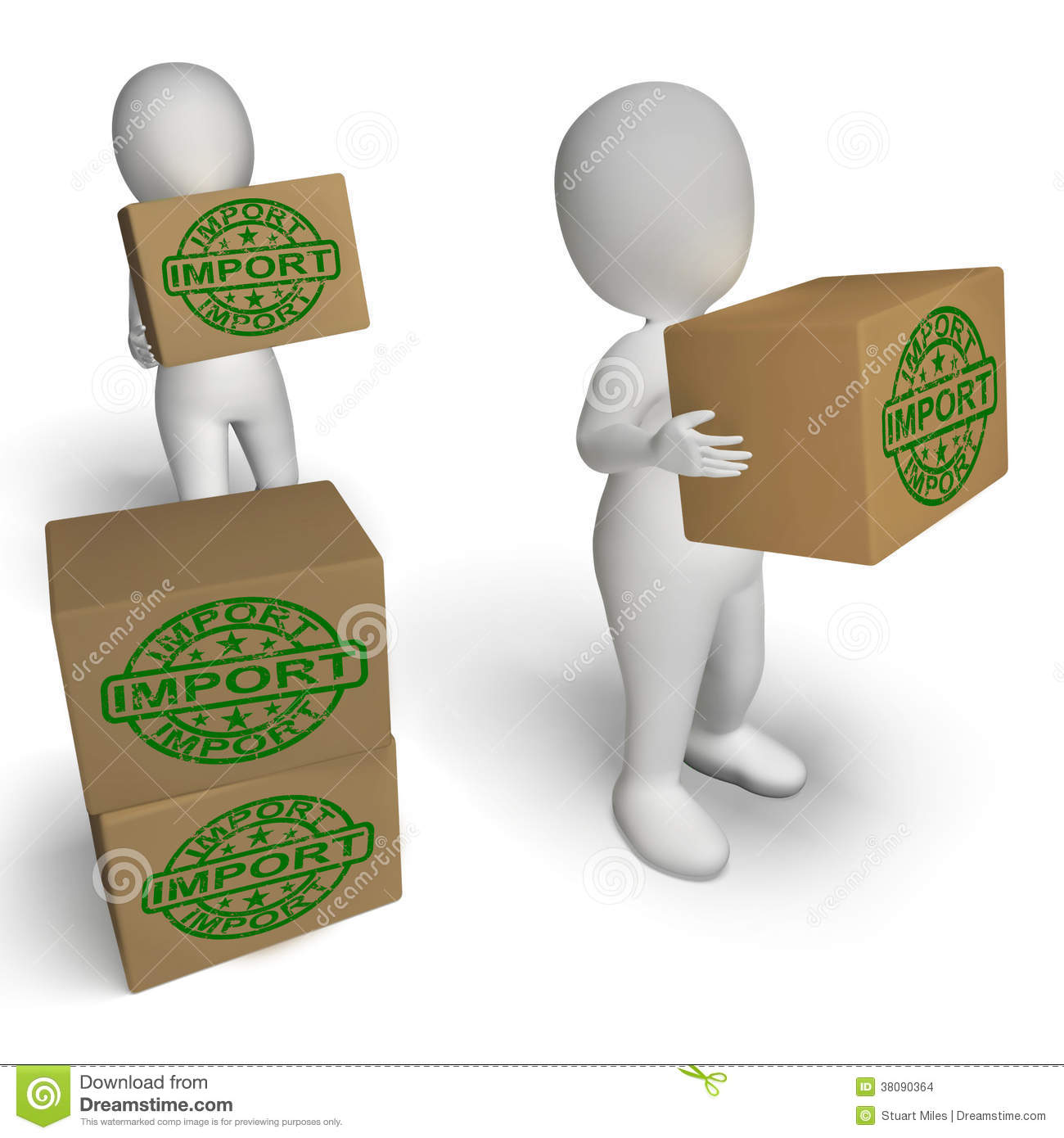 Import Boxes Show Importing Goods And Merchandise Stock Images.