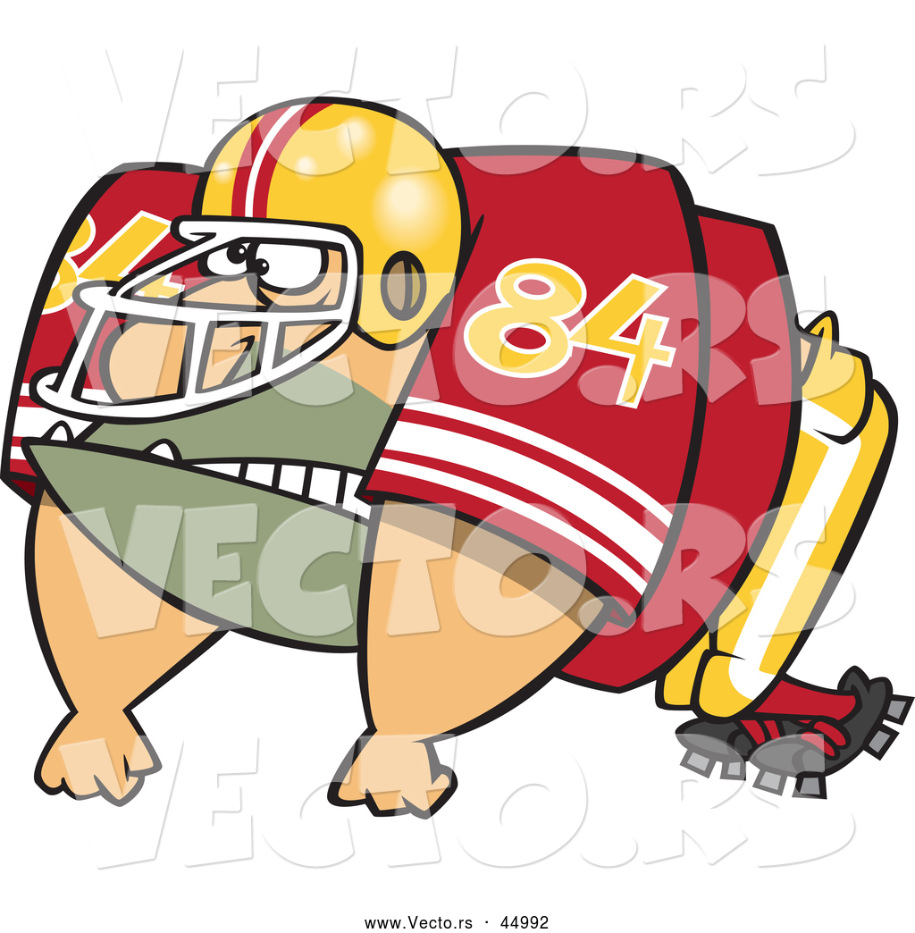 Vector of an Imposing Cartoon American Football Player Ready to.