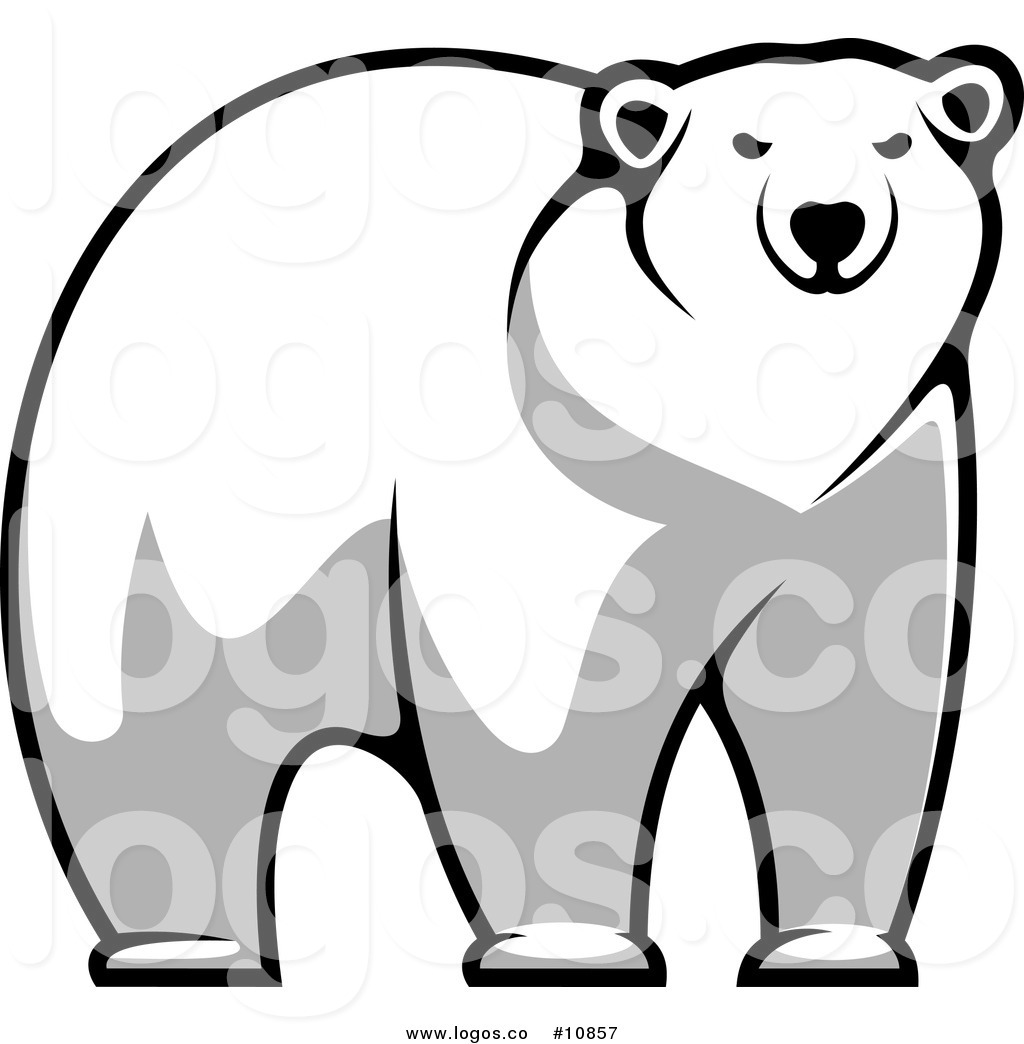 Royalty Free Clip Art Vector of an Imposing Polar Bear Staring.