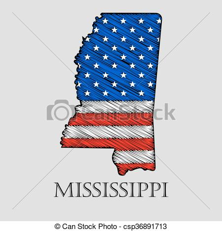 Vector Clip Art of State Mississippi.