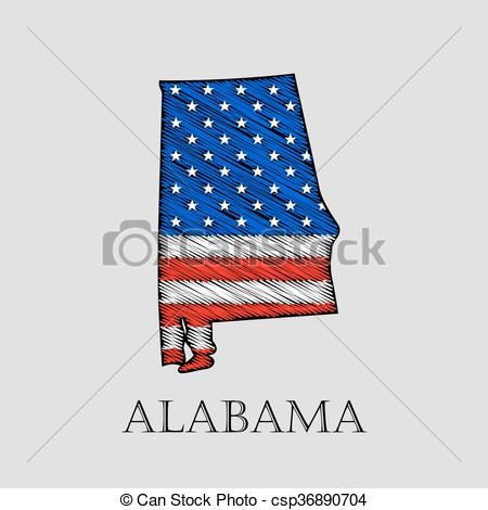 Vector Clipart of State Alabama.