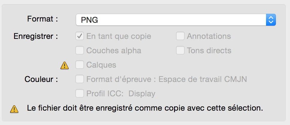 Photoshop CS6 mac problème d'enregistrement de fichier PNG.