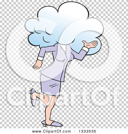Clipart of a Cartoon White Business Woman Walking with Her Head in.