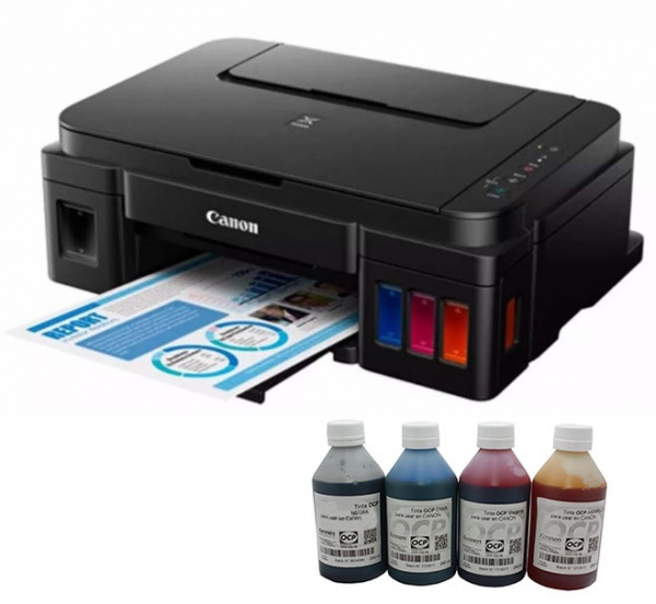 Impresora Canon Pixma G2100 Con Sistema + 400ml De Tinta OCP Alemana.