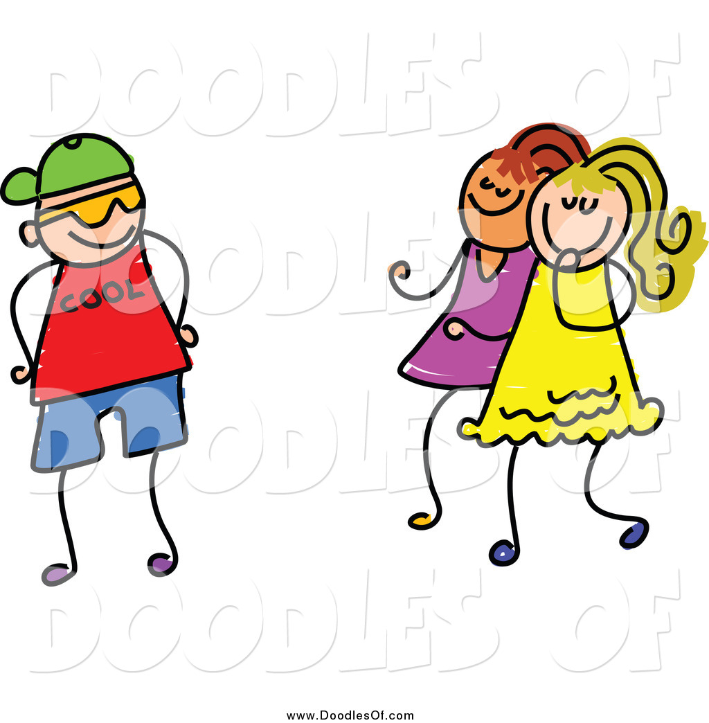 Vector Clipart of a Doodle Boy Trying to Impress Girls by Prawny.
