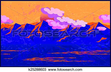 Clipart of Mountains in the manner of Impressionism k25288603.