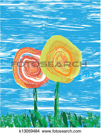 Clipart of Impressionist flowers k13059484.