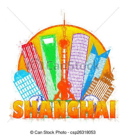 Stock Illustrations of Shanghai City Skyline Circle Impressionist.