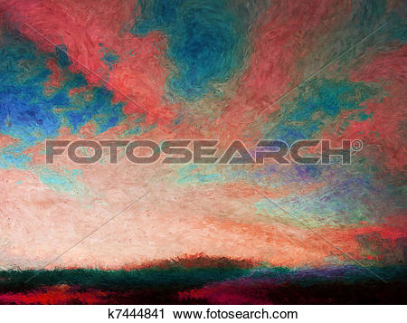 Clipart of Impressionist skyscape k7444841.