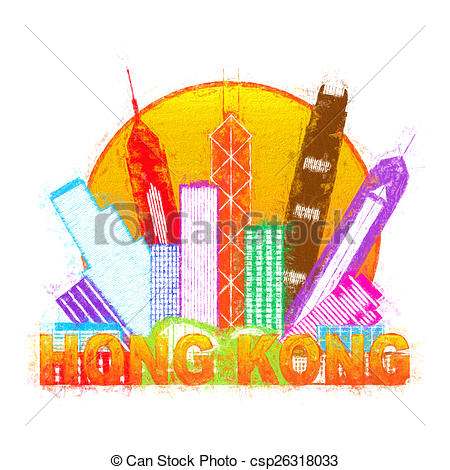 Drawings of Hong Kong City Skyline Circle Color Impressionist.