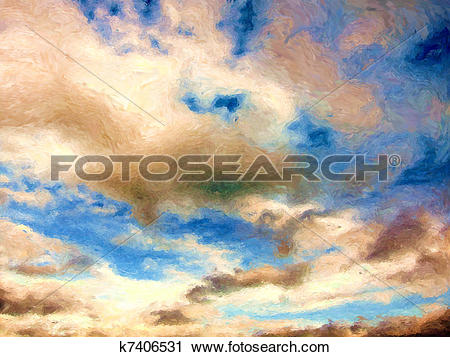 Clipart of Impressionist sky painting k7406531.